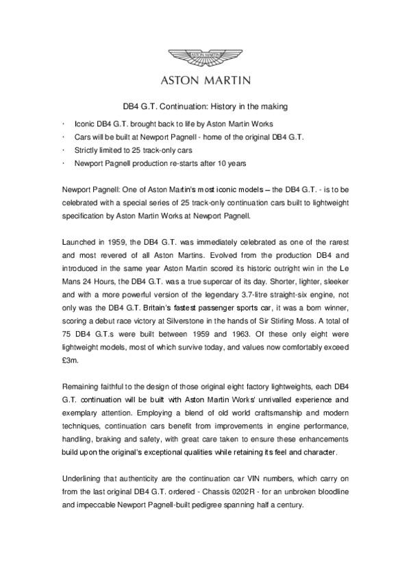 Aston Martin DB4 GT Continuation Press Release.pdf