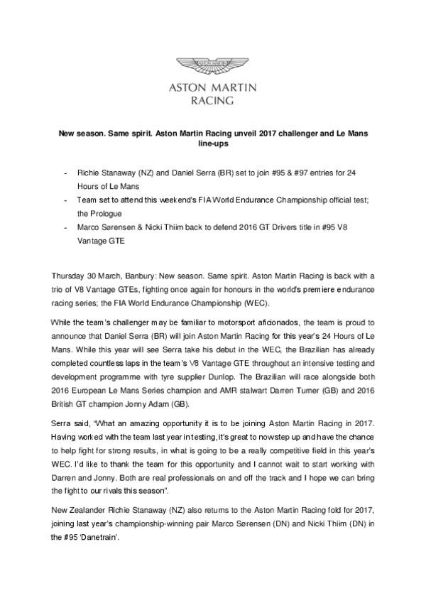 New season. Same spirit. Aston Martin Racing unveil 2017 challenger and Le Mans line-ups.pdf