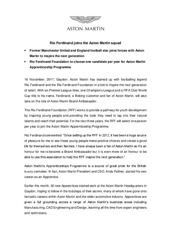 Rio Ferdinand joins the Aston Martin squad161117-pdf