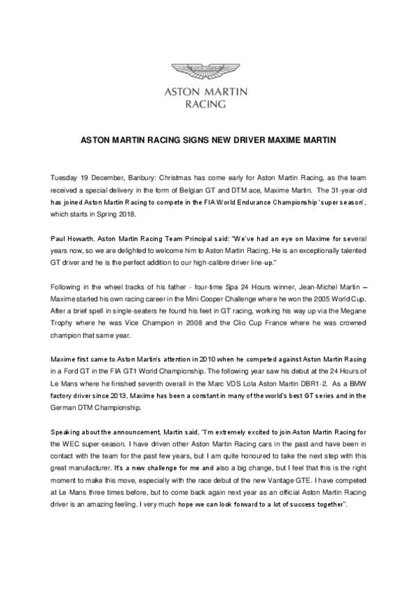 Maxime Martin Driver Announcement-pdf