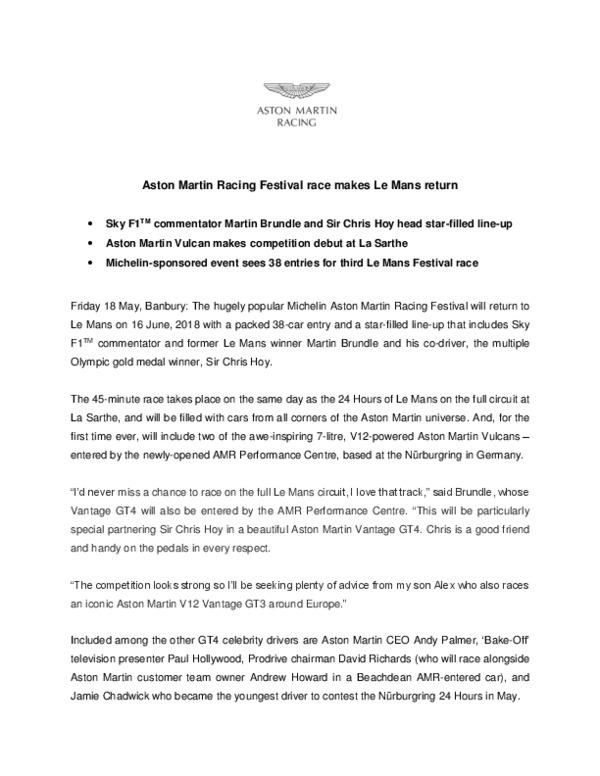 AMR Festival Race - Press Release