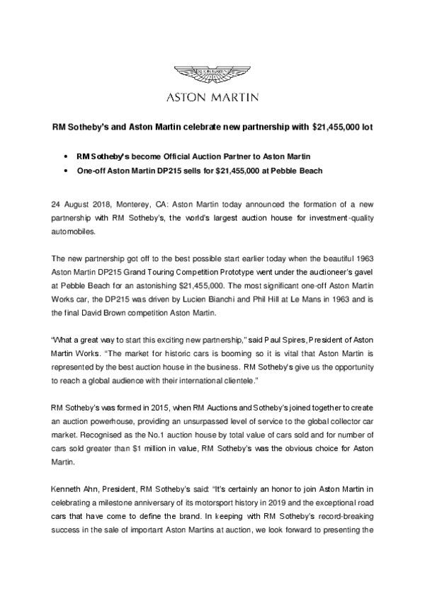RM Sothebys and Aston Martin celebrate new partnership with 21455000 lot -pdf