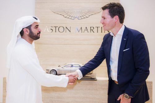 His Highness Sheikh Zayed bin Sultan bin Khalifa Al Nahyan and Dan Balmer, President, Aston Martin Lagonda Middle East, North Africa & Turkey