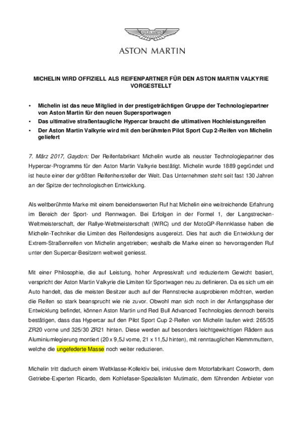 MICHELIN WIRD OFFIZIELL ALS REIFENPARTNER FÜR DEN ASTON MARTIN VALKYRIE VORGESTELLT