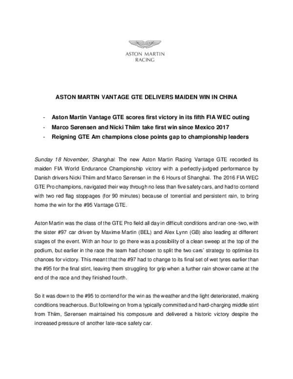 ASTON MARTIN VANTAGE GTE DELIVERS MAIDEN WIN IN CHINA-pdf