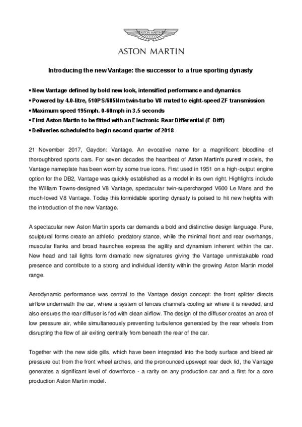 Introducing the new Vantagethe successor to a true sporting dynasty-pdf