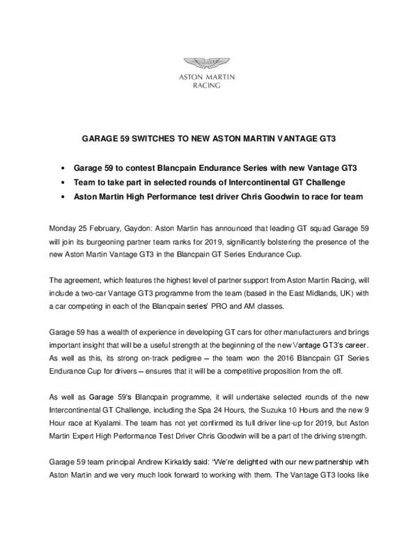 GARAGE 59 SWITCHES TO NEW ASTON MARTIN VANTAGE GT3