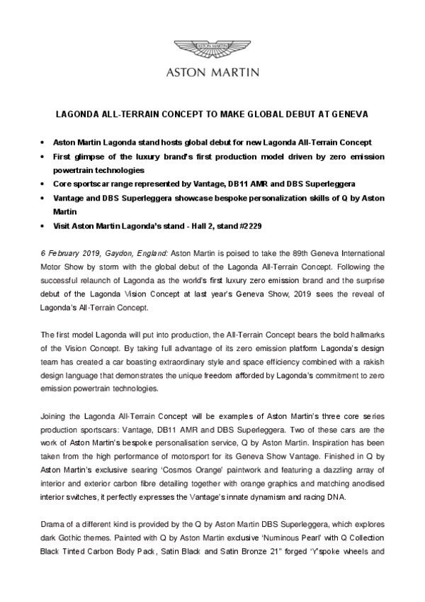 LAGONDA ALL-TERRAIN CONCEPT TO MAKE GLOBAL DEBUT AT GENEVA