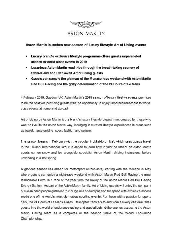 Aston Martin launches new season of luxury lifestyle Art of Living events-pdf