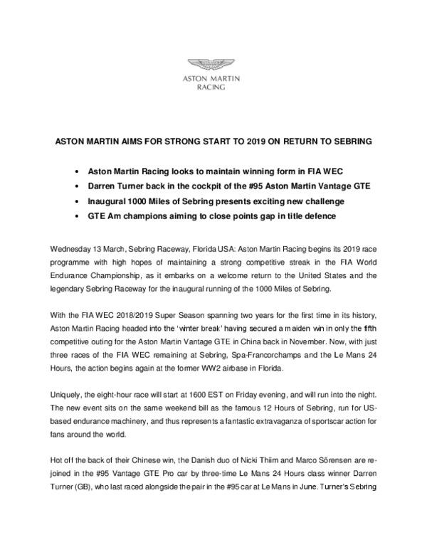 ASTON MARTIN AIMS FOR STRONG START TO 2019 ON RETURN TO SEBRING-pdf