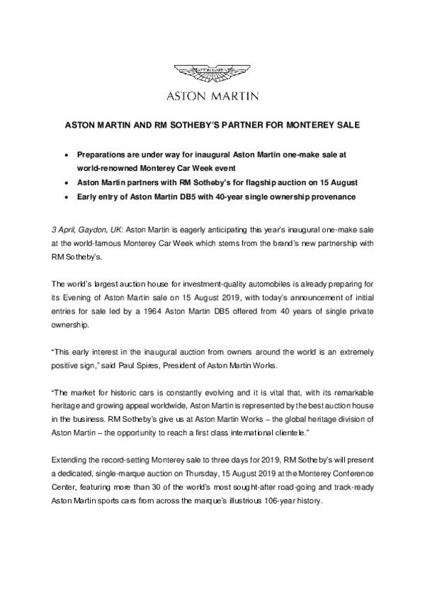 ASTON MARTIN AND RM SOTHEBYS PARTNER FOR MONTEREY SALE-pdf