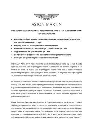 ITALIAN - DBS SUPERLEGGERA VOLANTE: ASTON MARTIN APRE IL TOP SULLOTTIMA OPEN TOP GT EXPERIENCE-pdf
