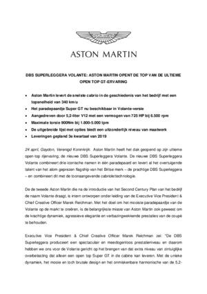 DUTCH - DBS SUPERLEGGERA VOLANTE: ASTON MARTIN OPENT DE TOP VAN DE ULTIEME OPEN TOP GT-ERVARING