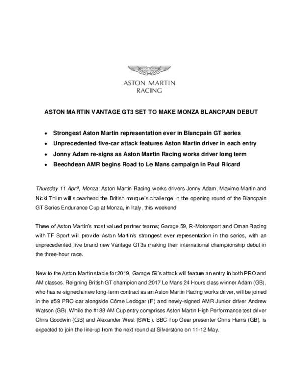ASTON MARTIN VANTAGE GT3 SET TO MAKE MONZA BLANCPAIN DEBUT-pdf