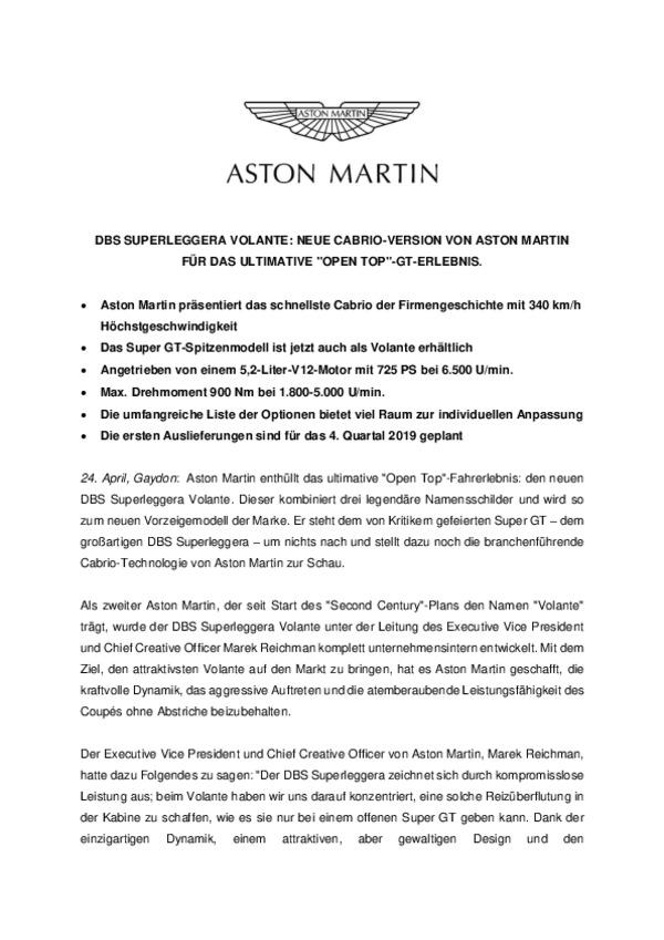 """DBS SUPERLEGGERA VOLANTE: NEUE CABRIO-VERSION VON ASTON MARTIN FÜR DAS ULTIMATIVE """"OPEN TOP""""-GT-ERLEBNIS"""