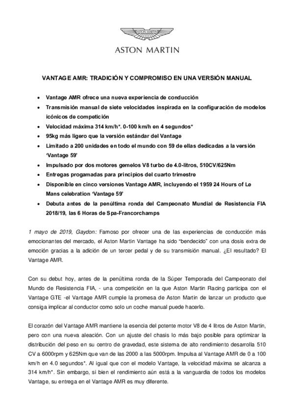 SPANISH: VANTAGE AMR -  TRADICION Y COMPROMISO EN UNA VERSION MANUAL
