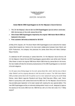 Aston Martin DBS Superleggera is On Her Majestys Secret Service
