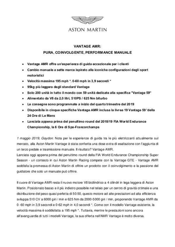 ITALIAN: VANTAGE AMR - PURA COINVOLGENTE PERFORMANCE MANUALE