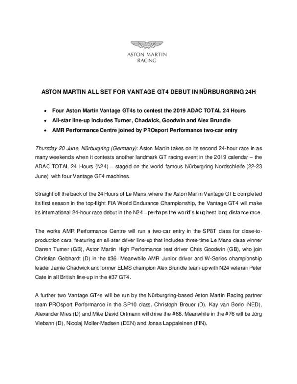 ASTON MARTIN ALL SET FOR VANTAGE GT4 DEBUT IN NURBURGRING 24H-pdf