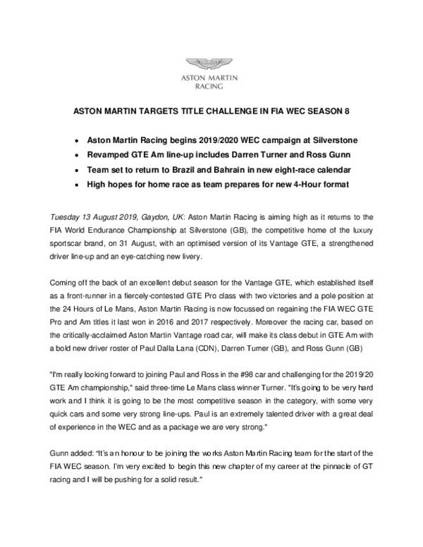 ASTON MARTIN TARGETS TITLE CHALLENGE IN FIA WEC SEASON 8