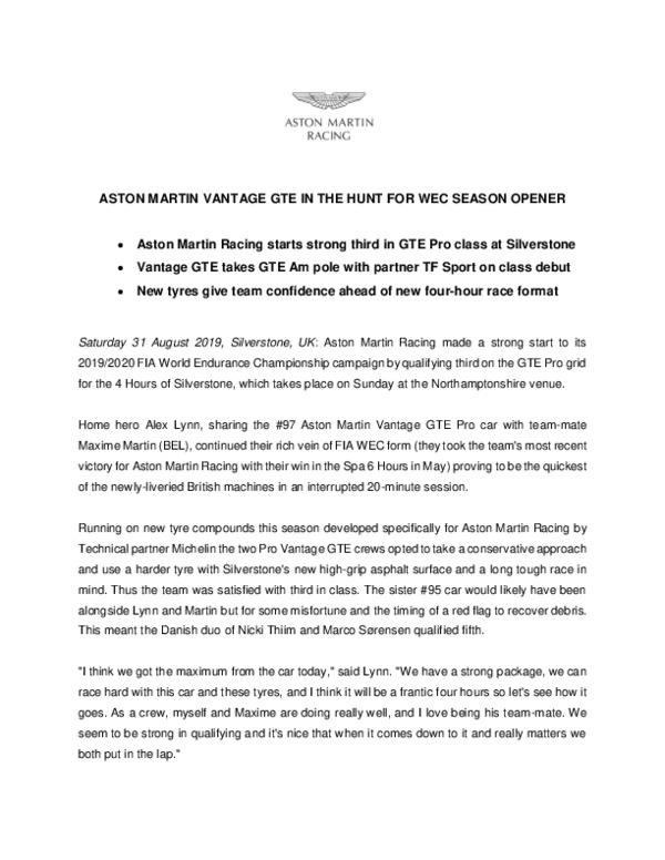 ASTON MARTIN VANTAGE GTE IN THE HUNT FOR WEC SEASON OPENER-pdf