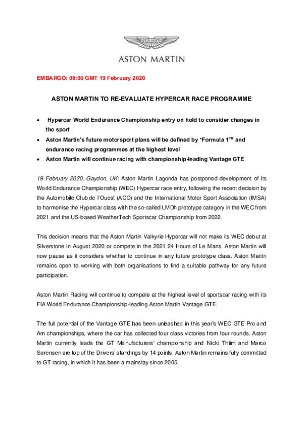 ASTON MARTIN TO RE-EVALUATE HYPERCAR RACE PROGRAMME-pdf