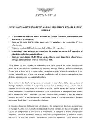 SPANISH - Aston Martin presenta el Vatntage Roadster-pdf