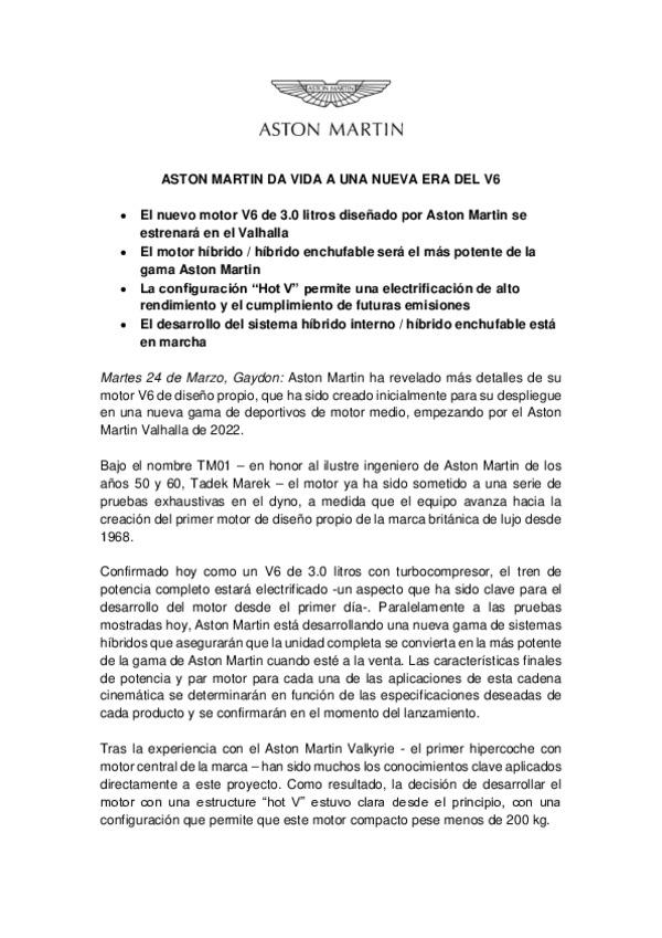 SPANISH - ASTON MARTIN DA VIDA A UNA NUEVA ERA DEL V6-pdf