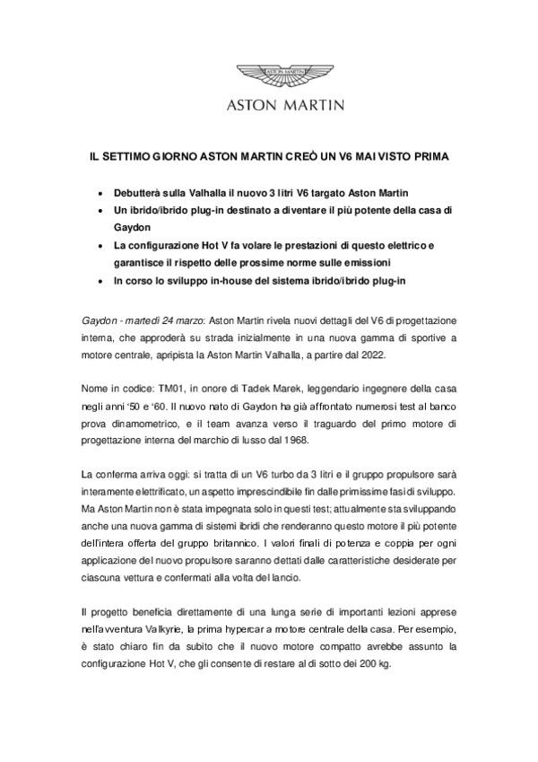 ITALIAN - IL SETTIMO GIORNO ASTON MARTIN CREO UN V6 MAI VISTO PRIMA-pdf