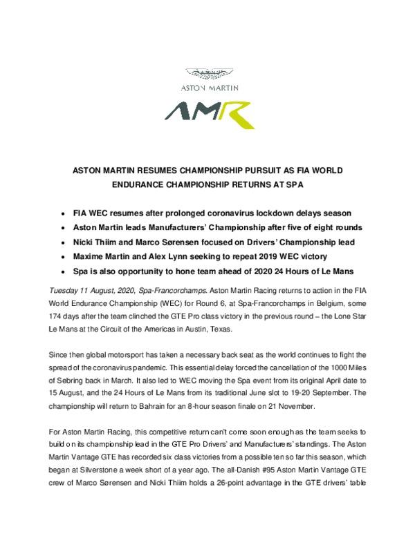 ASTON MARTIN RESUMES CHAMPIONSHIP PURSUIT AS FIA WORLD ENDURANCE CHAMPIONSHIP RETURNS AT SPA-pdf