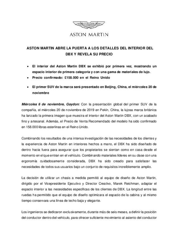 SPANISH - ASTON MARTIN ABRE LA PUERTA A LOS DETALLES DEL INTERIOR DEL DBX Y REVELA SU PRECIO