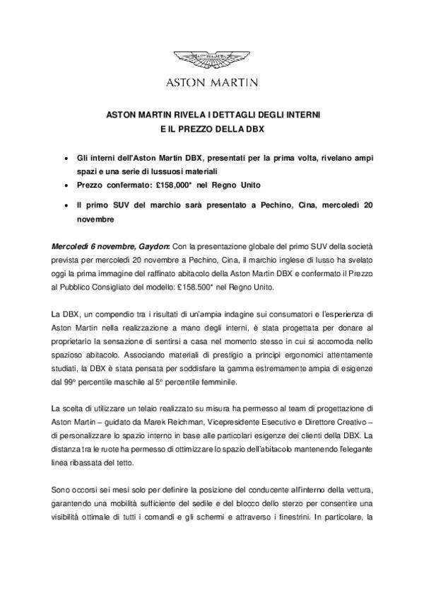 ITALIAN - ASTON MARTIN RIVELA I DETTAGLI DEGLI INTERNI E IL PREZZO DELLA DBX