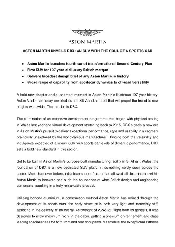 Aston Martin DBX - Full Press Release-pdf