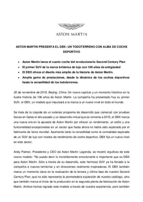 Spanish - Aston Martin DBX - Full Press Kit