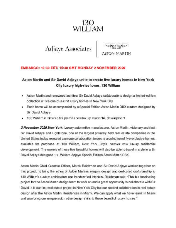 Aston Martin and Sir David Adjaye unite to create five luxury homes in New York City luxury high-rise tower 130 William