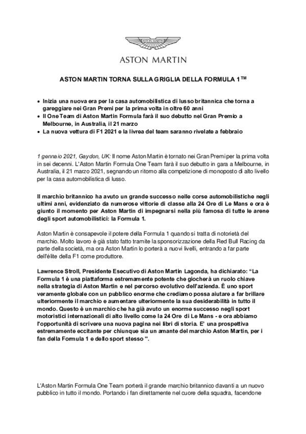 ITALIAN - ASTON MARTIN TORNA SULLA GRIGLIA DELLA FORMULA 1