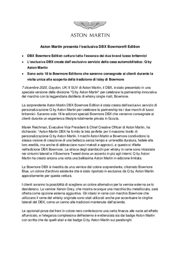 Italian - Aston Martin presenta lesclusiva DBX Bowmore Edition-pdf
