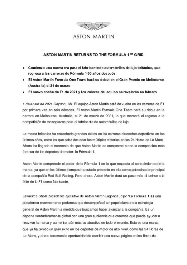 SPANISH - ASTON MARTIN REGREA A LA PARILLA DE F1