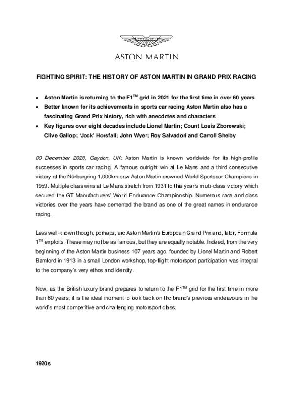 FIGHTING SPIRIT: THE HISTORY OF ASTON MARTIN IN GRAND PRIX RACING