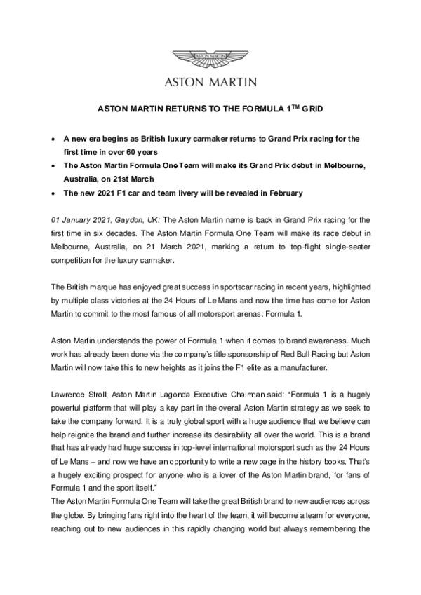 ENGLISH - ASTON MARTIN RETURNS TO THE FORMULA 1 GRID-pdf