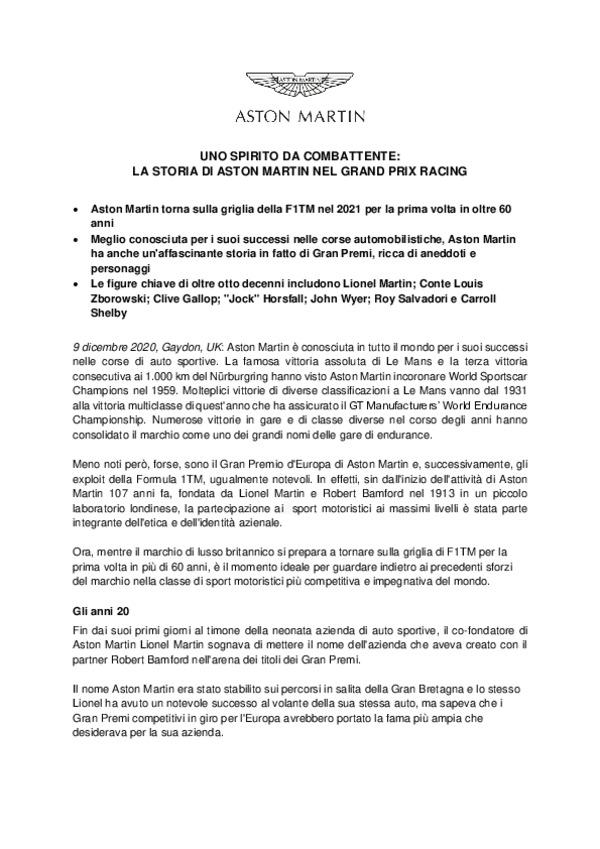 ITALIAN - UNO SPIRITO DA COMBATTENTE:  LA STORIA DI ASTON MARTIN NEL GRAND PRIX RACING