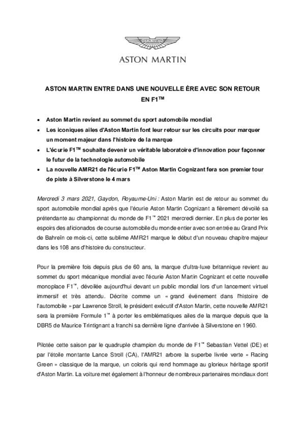 ASTON MARTIN ENTRE DANS UNE NOUVELLE ÈRE AVEC SON RETOUR EN F1
