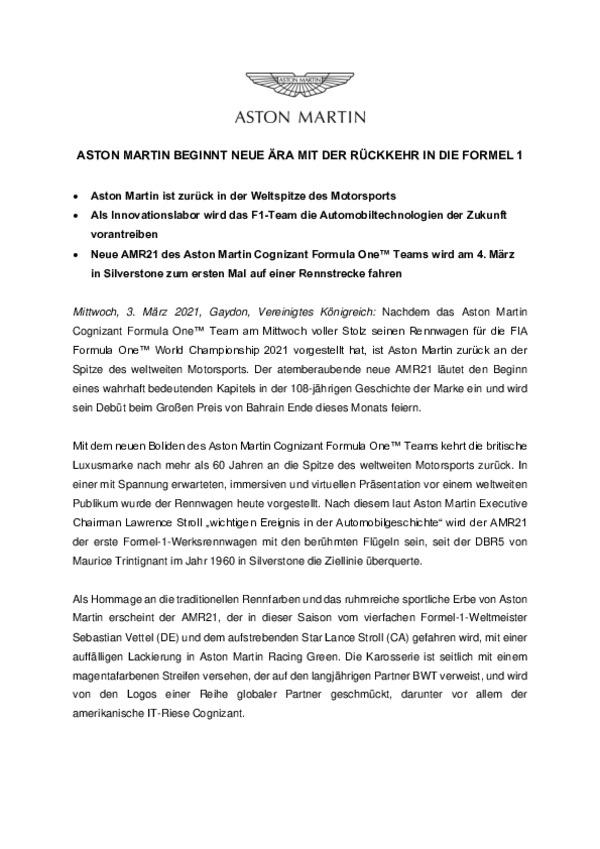 ASTON MARTIN BEGINNT NEUE ÄRA MIT DER RÜCKKEHR IN DIE FORMEL 1