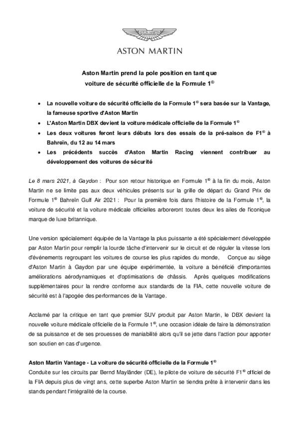ASTON MARTIN PREND LA POLE POSITION EN TANT QUE VOITURE DE SECURITE OFFICIELLE DE LA FORMULE 1-pdf