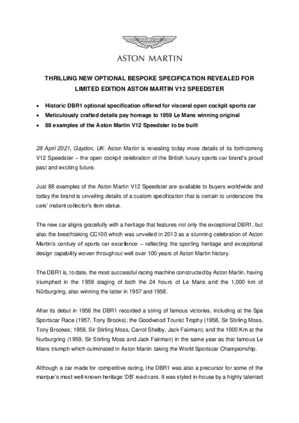 THRILLING NEW OPTIONAL BESPOKE SPECIFICATION REVEALED FOR LIMITED EDITION ASTON MARTIN V12 SPEEDSTER -pdf