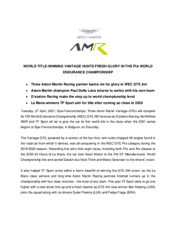WORLD TITLE-WINNING VANTAGE HUNTS FRESH GLORY IN THE FIA WORLD ENDURANCE CHAMPIONSHIP-pdf