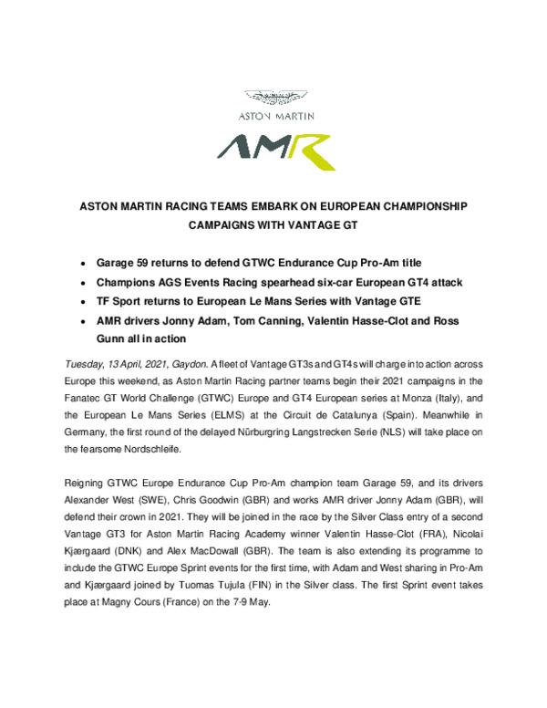 ASTON MARTIN RACING TEAMS EMBARK ON EUROPEAN CHAMPIONSHIP CAMPAIGNS WITH VANTAGE GT-pdf