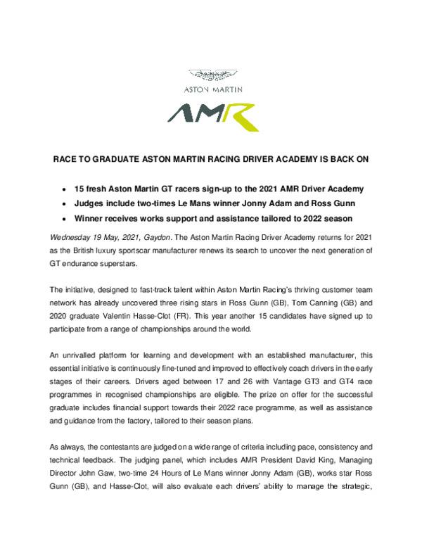 RACE TO GRADUATE ASTON MARTIN RACING DRIVER ACADEMY BACK ON-pdf